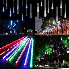 drop down christmas lights 30cm led rain drop christmas lights with snow down effect set of 8