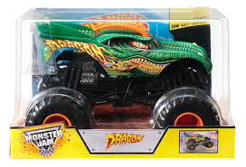 how long is a monster truck show amazon com wheels monster jam 1 24 scale dragon vehicle toys