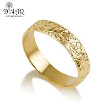 gold band ring 14k gold flower wedding band handmade flower by dinarjewelry