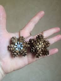 mini snowflake pine cone ornament gold or silver snowflake charm