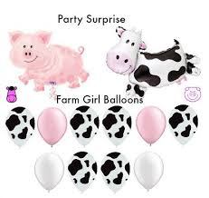 cow print balloons cow pig farm party girl balloons pink white cow print girl