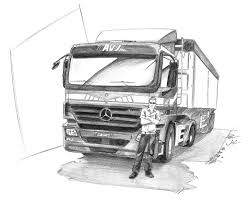 mercedes truck drawn truck mercedes truck pencil and in color drawn truck