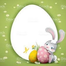 big easter bunny easter bunny with big eggs background stock vector 646374038