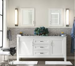 Subway Tiles In Bathroom Decorating White Vanity Metal Stainless Steel Faucets With Subway