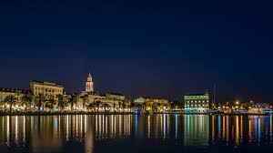 Split Houses by Wallpapers City Of Split Croatia Canal Palms Night Time 3840x2160