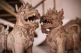 small foo dogs small pair of foo or singha dogs from thailand usually