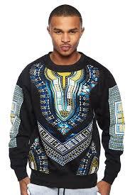 dashiki sweater mens winter dashiki metallic print crewneck sweater top dsk754