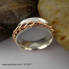 spinner ring sterling silver and twisted gold spinner ring handcrafted