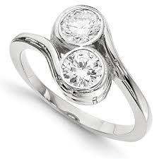 stone set rings images Half carat bezel set diamond 2 stone ring in 14k white gold jpg