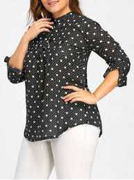 black polka dot blouse black 4xl plus size button up chiffon polka dot blouse rosegal com