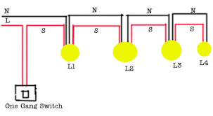 sketch for running two lights with one switch the power supply