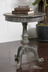 uttermost accent tables uttermost cadey distressed reclaimed wood round pedestal accent side