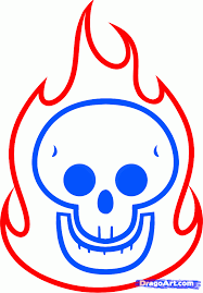 draw a flaming skull for by drawing sheets added