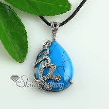 turquoise blue stone necklace images Teardrop wave rose quartz glass opal turquoise jade semi precious jpg