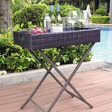 Palm Harbor Patio Furniture Coral Coast Berea Outdoor Wicker Butler Tray Table Hayneedle