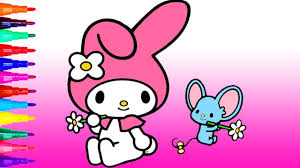 learn colors my melody hello kitty coloring page for kids youtube