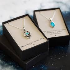 blue opal hamsa blue opal silver friendship necklace by regalrose