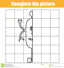 educational coloring pages for kids copy by grid complete the picture children educational game