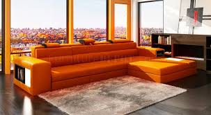 polaris mini sectional sofa in orange bonded leather by vig