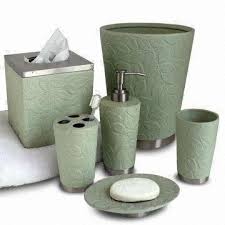 Ceramic Bathroom Accessories by Metal Bath Accessories Set With Ceramic Green Leaves Pattern