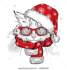 tiger christmas hat sunglasses print on stock vector 427390948