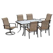 amazon com belleville 7 piece padded sling outdoor dining set