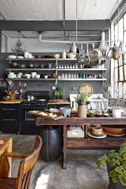 kitchen island hanging pot racks stunning rustic industrial kitchen with black color kitchen island