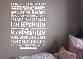 Bedroom Wall Decals Etsy Psalm 139 13 14 Fearfully And Wonderfully Made Teen Boy