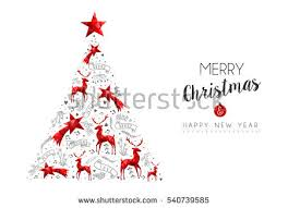 Christmas Decorations Pine Tree merry christmas happy new year red stock vector 540018793