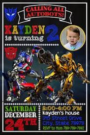 autobots transformer optimus and bumbblebee birthday party card