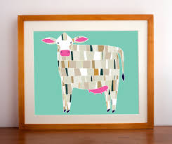 Goat Home Decor Barnyard Cow Print Cow Illustration Cow Art Print Farm Art