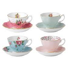 vintage tea set royal albert tea party vintage mix set of 4 teacups saucers