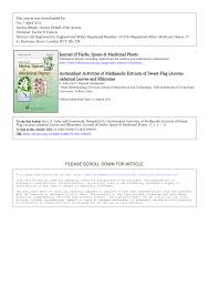 Sweet Flag Herb Antioxidant Activities Of Methanolic Extracts Of Acorus Calamus L