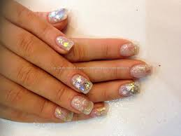 stiletto with encapsulated nail art glitter colored acrylic eye