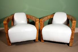 Art Deco Armchair Pair Art Deco Birdseye Maple White Leather Armchairs