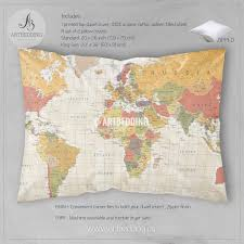 antique map world vintage colorful detailed world map bedding vintage map duvet