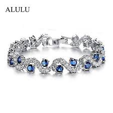 silver bracelet with crystal images Luxury blue crystal bracelet for wedding silver bracelet jpg