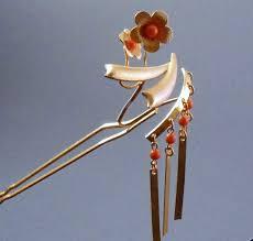japanese hair pin japanese faux coral goldtone bira kanzashi hairpin from rapunzel s