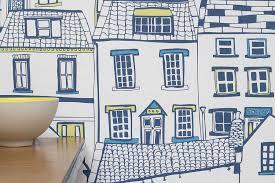 coastal cottages wallpaper sample by jessica hogarth designs