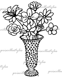 flower vase sketch pencil drawing collection