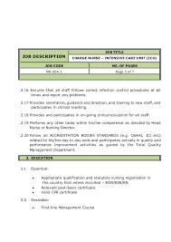 Charge Nurse Job Description Resume Registered Nurse Job Description Er Nurse Job Description