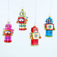 tree ornaments mid century modern 3inch space robots ornament set
