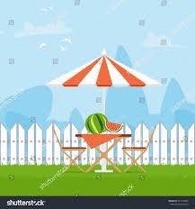 summer picnic on backyard outdoor recreation stock vector