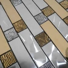 Kitchen Backsplash Glass Tile by Silver Gold Metal Mosaic Kitchen Wall Tiles Backsplash Smmt067 3d