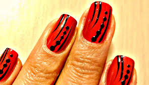 easy nail art designs red and black youtube