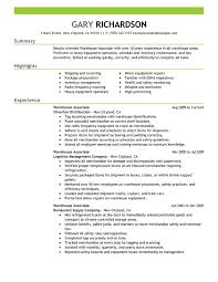 warehouse resume skills summary customer warehouse associate resume exles created by pros