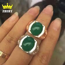 natural gemstones rings images Men ring genuine 925 sterling silver natural green chalcedony man jpg