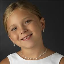 earring girl girl s necklace earrings set faux pearls 1st communion or