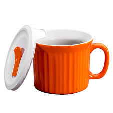 corningware colours pop ins carrot 20 oz mug w vented lid