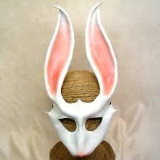 cool masks white rabbit leather mask in costume